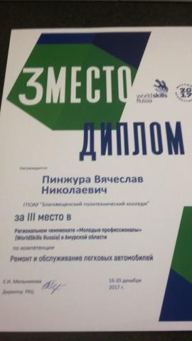 3 место в WSRussia