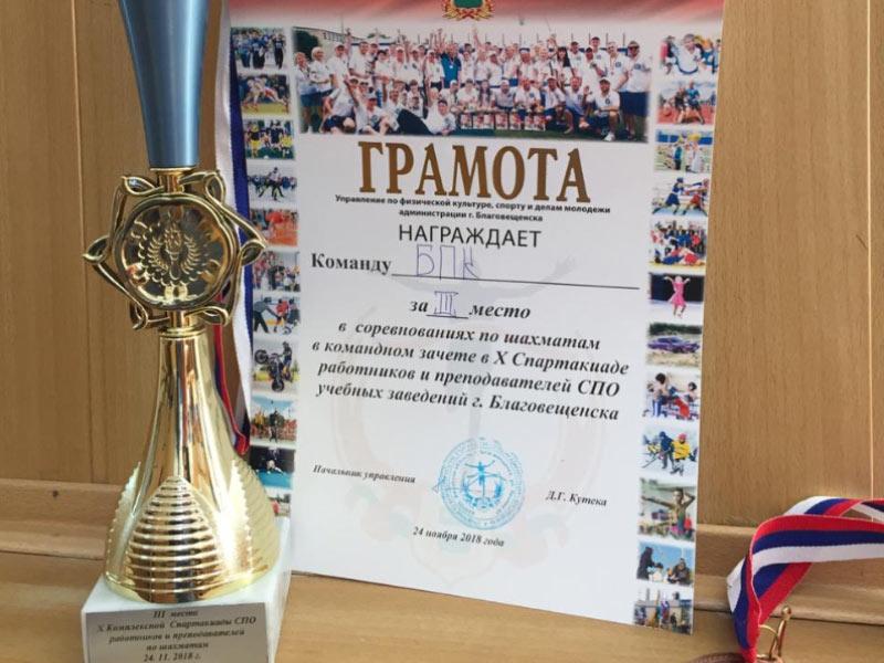 3 место Спартакиада шахматы